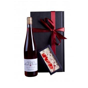Geschenkpaket - Himbeerwein & Weiße Schokolade